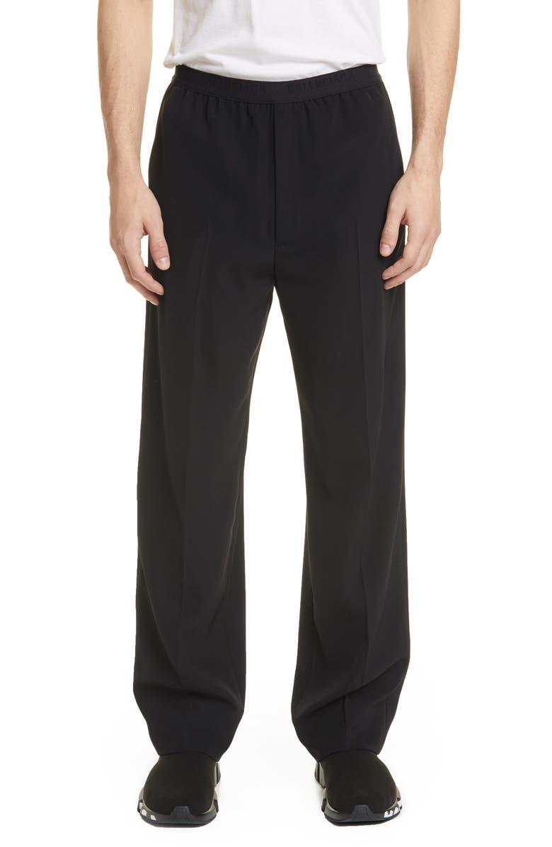 BALENCIAGA Pull-On Pants, Main, color, BLACK