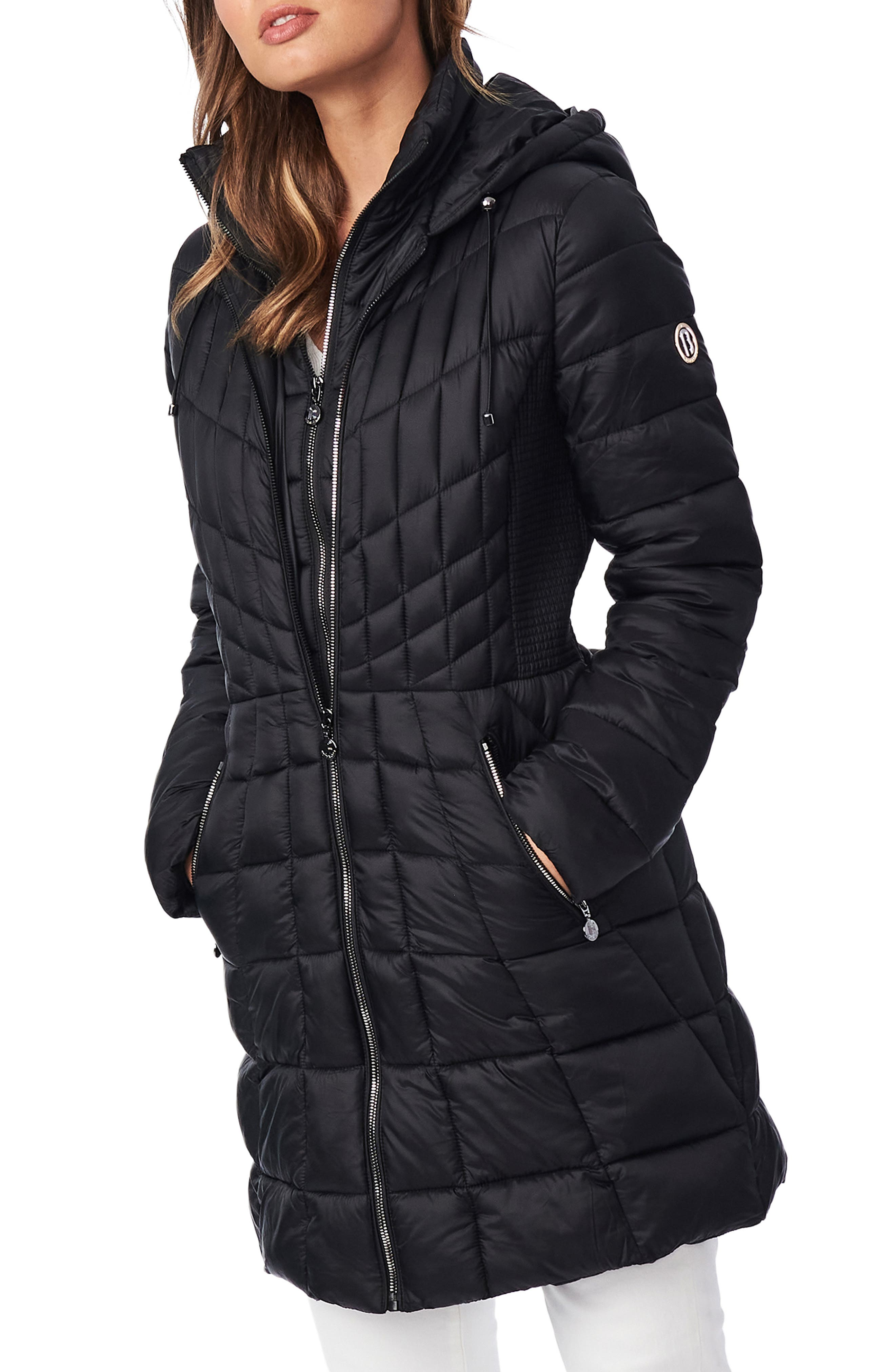 Packable Hooded Primaloft Fill Coat With Contrast Inset Bib