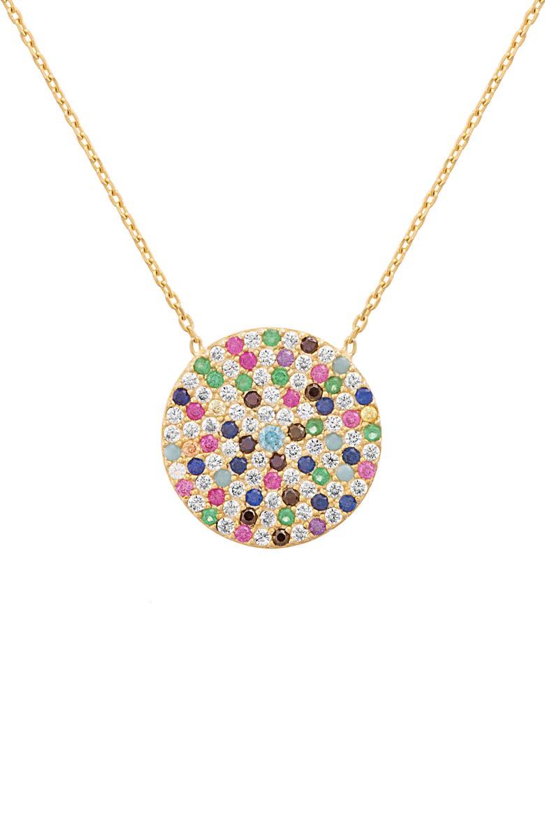 LESA MICHELE Crystal Pavé Pendant Necklace, Main, color, GOLD/ MULTI