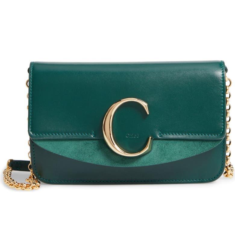 CHLOÉ Mini Leather Shoulder Bag, Main, color, RAIN FOREST