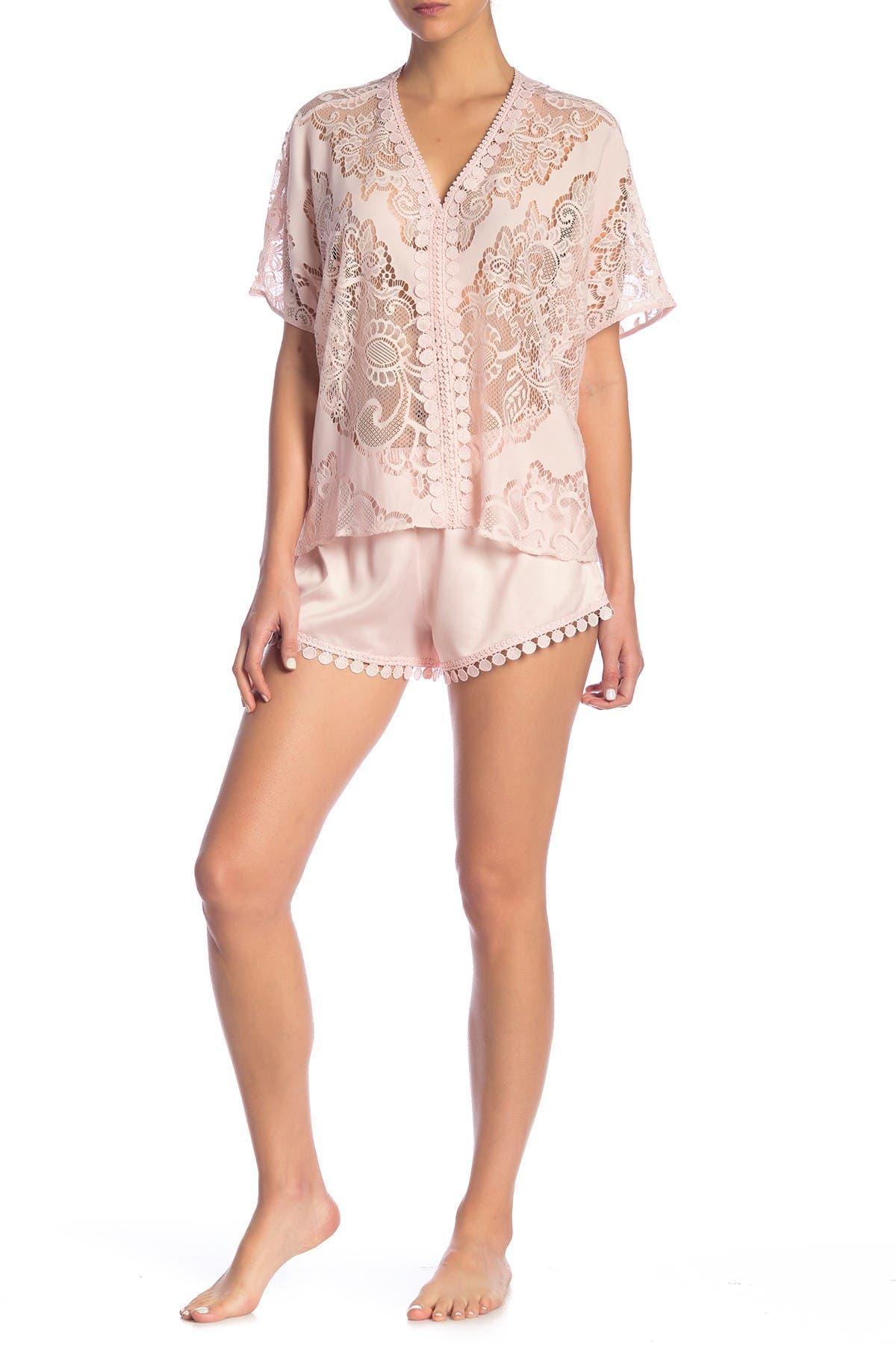 Image of Flora Nikrooz Sleepwear Millie Sheer Lace & Satin Pajama 2-Piece Set