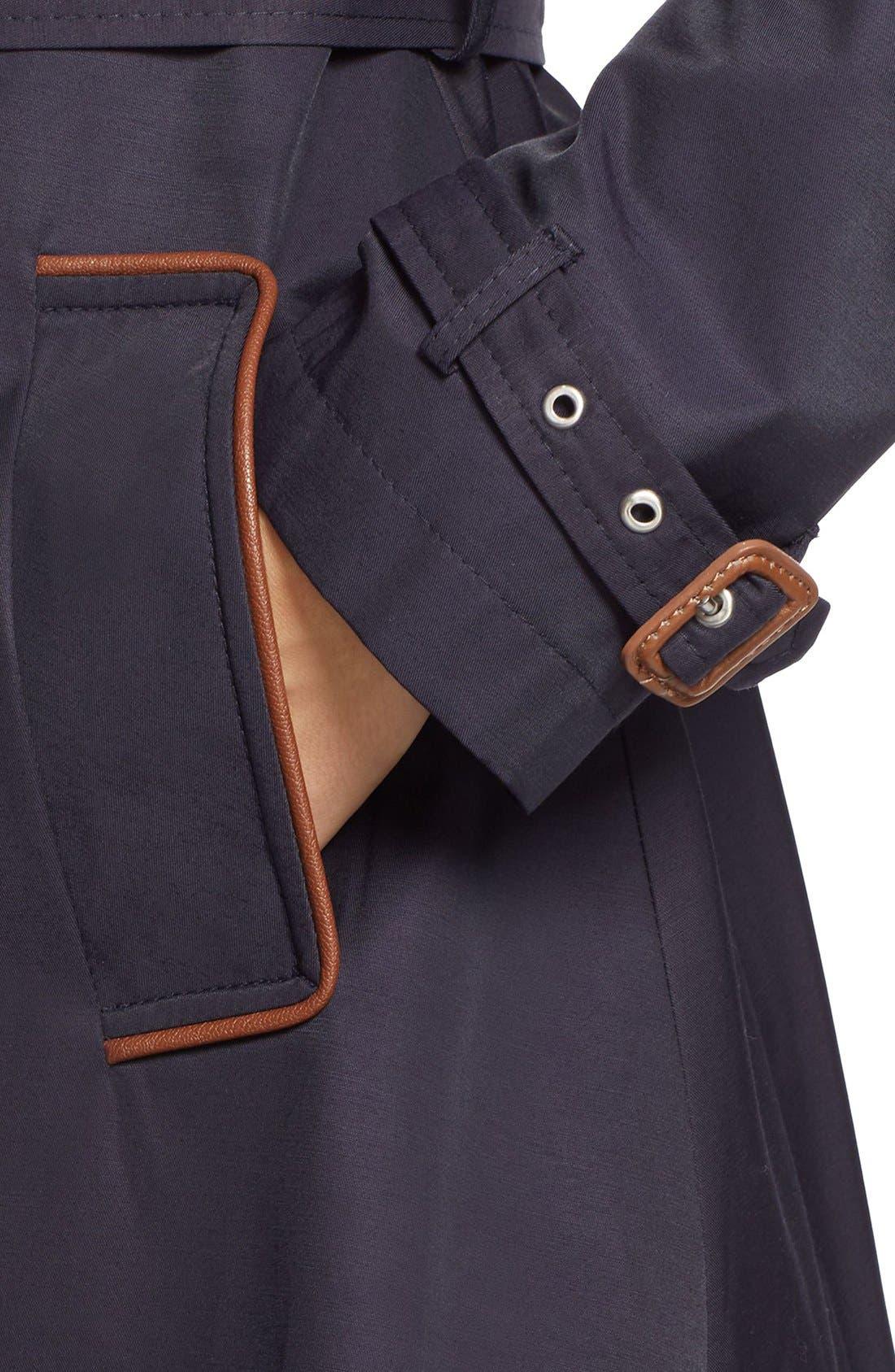 ,                             Faux Leather Trim Trench Coat,                             Alternate thumbnail 42, color,                             412