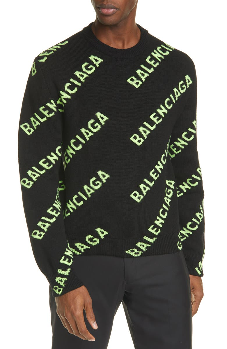BALENCIAGA Intarsia Logo Wool Crewneck Sweater, Main, color, BLACK/ ACID GREEN
