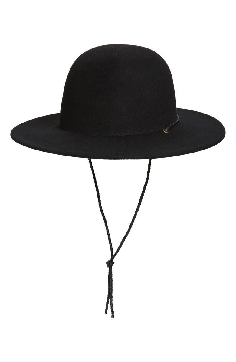 NOAKE Nico Round Crown Wool Hat, Main, color, BLACK