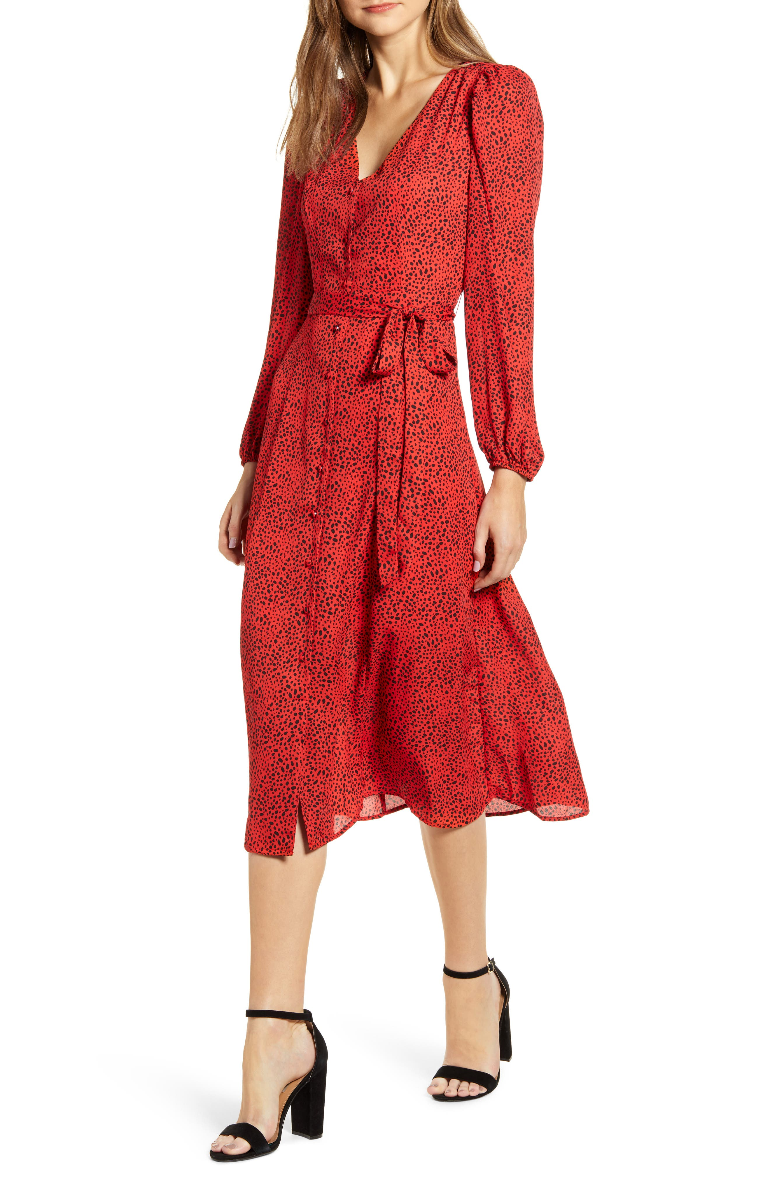 Image of Bobeau Dotted Long Sleeve Midi Dress