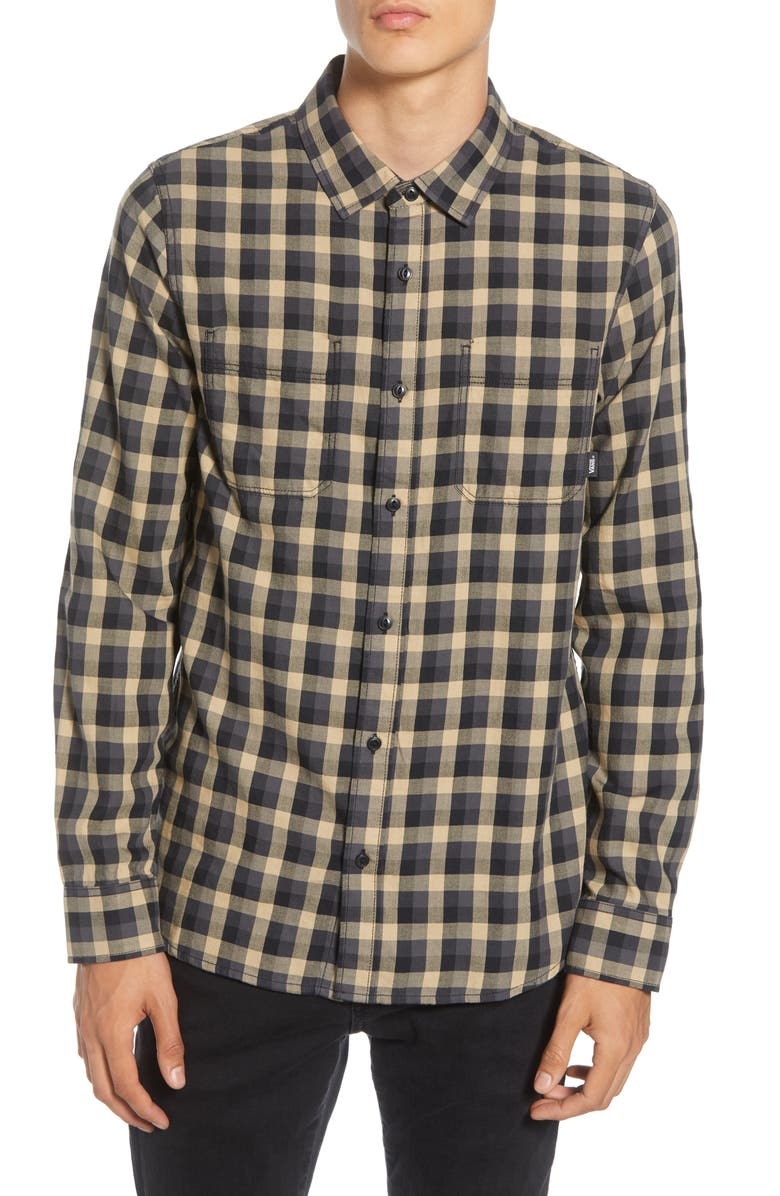 VANS Alameda II Tailored Fit Check Button-Up Flannel Shirt, Main, color, KHAKI