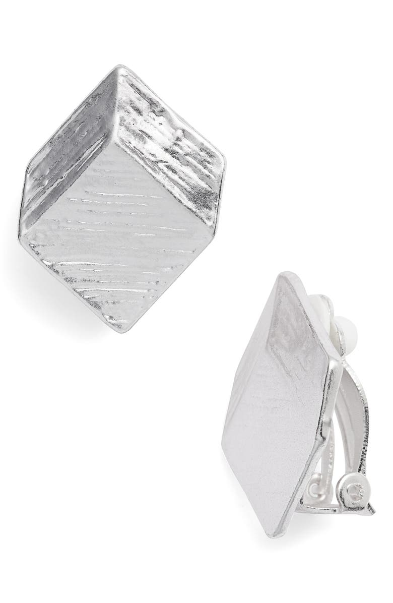KARINE SULTAN Brushed Square Clip-On Earrings, Main, color, SILVER