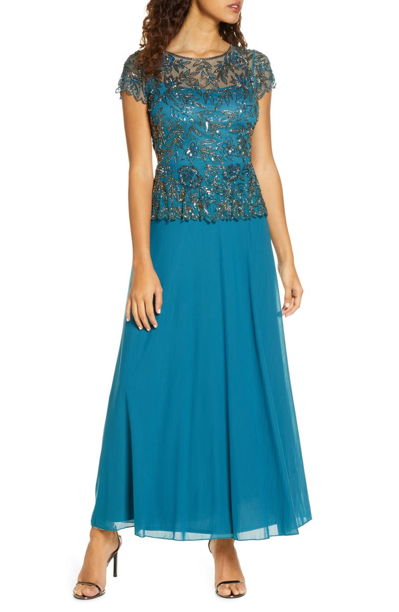 PISARRO NIGHTS Beaded Mesh Mock Two-Piece Gown, Main, color, TEAL