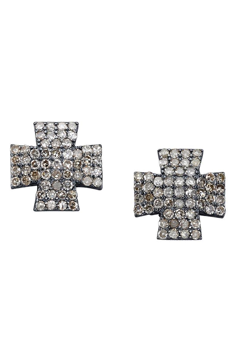 SHERYL LOWE Maltese Diamond Stud Earrings, Main, color, STERLING SILVER