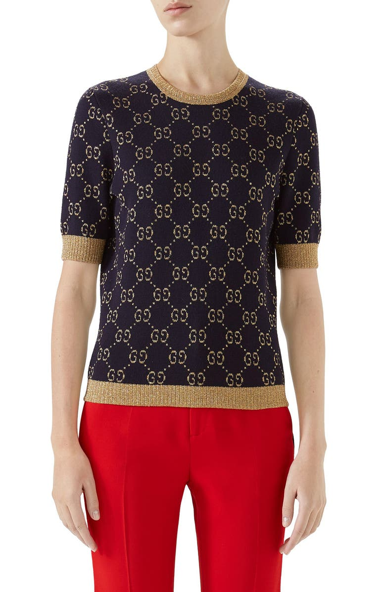GUCCI Metallic GG Sweater, Main, color, BLUE/ GOLD