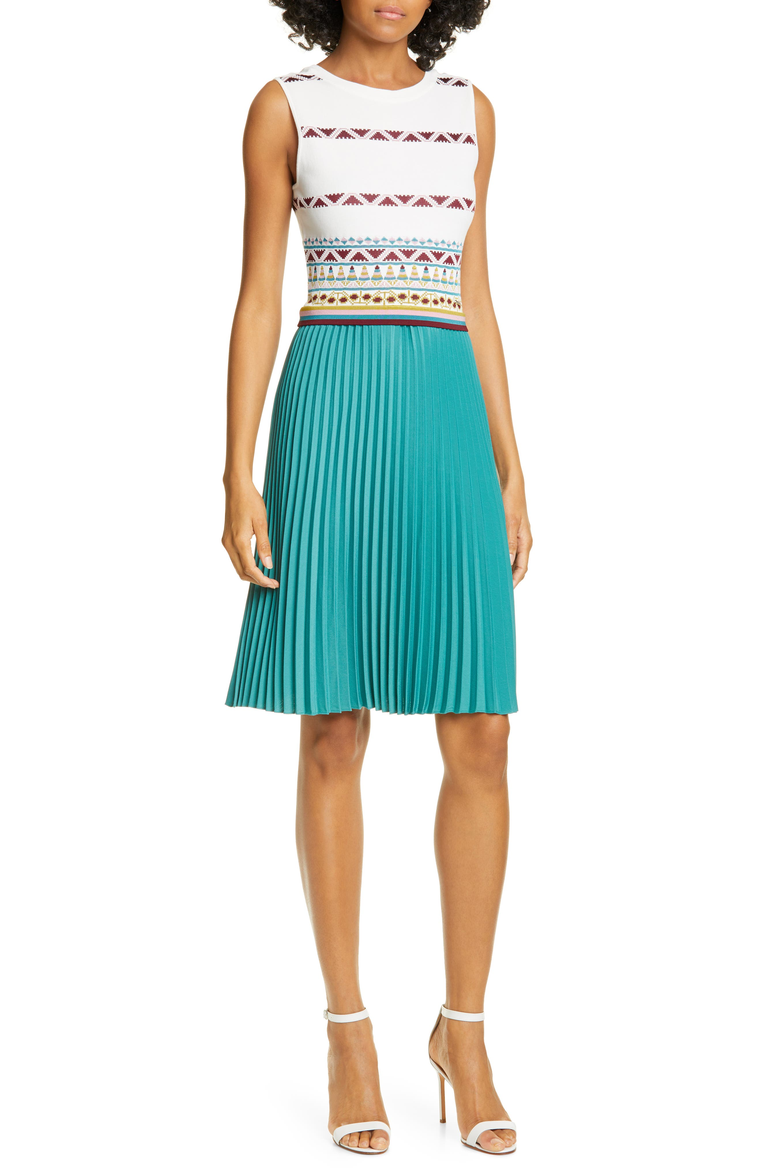 Ted Baker London Zannan Geo Pleated Dress, Ivory
