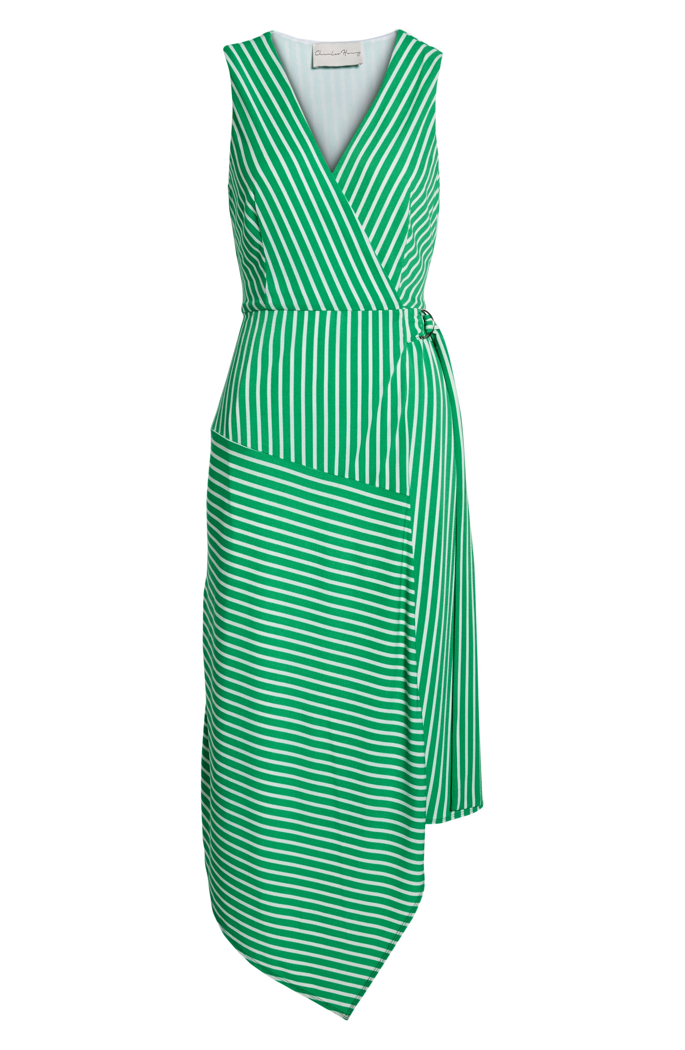 ,                             Wrap Midi Dress,                             Alternate thumbnail 9, color,                             JADE-WHITE STRIPE
