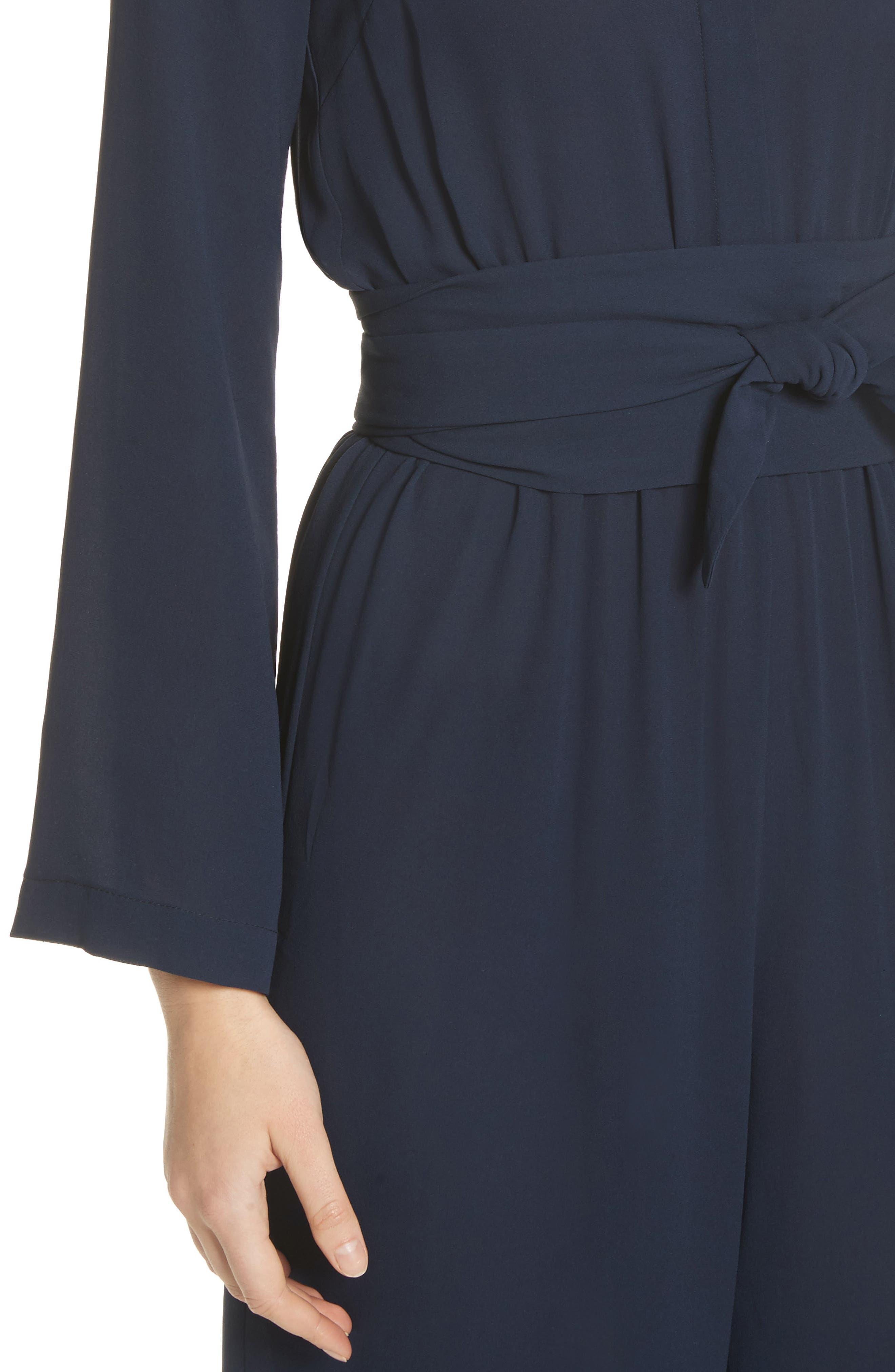 ,                             Belted Silk Jumpsuit,                             Alternate thumbnail 4, color,                             478