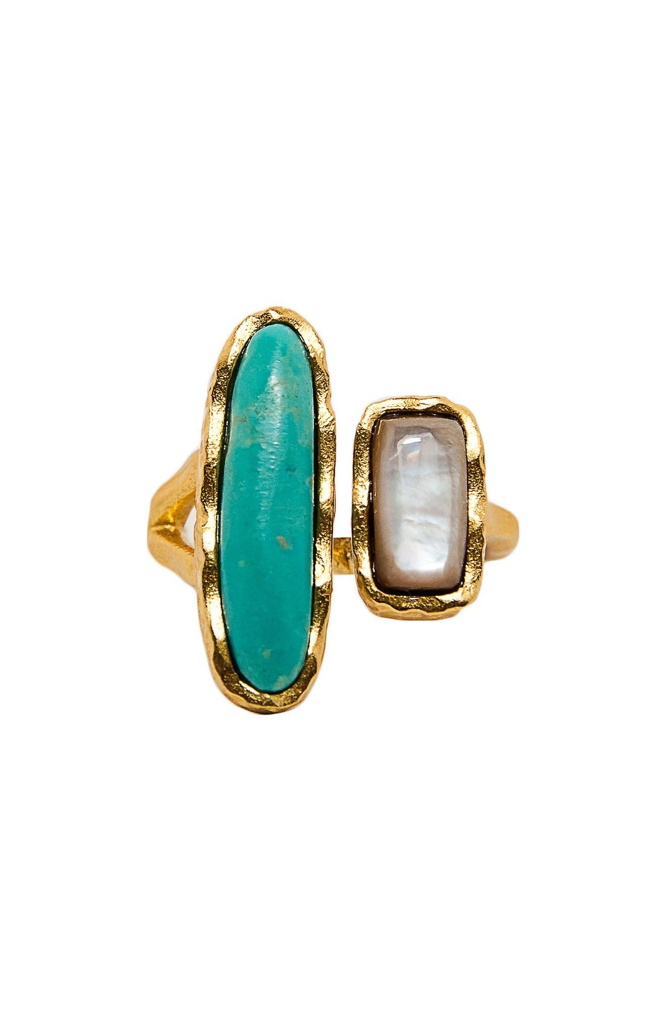 Deco Twin Stone Open Ring
