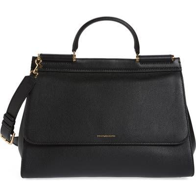 Dolce & gabbana Medium Miss Sicily Soft Calfskin Leather Top Handle Satchel - Black