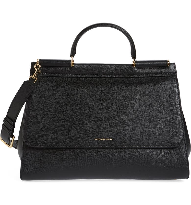 DOLCE&GABBANA Medium Miss Sicily Soft Calfskin Leather Top Handle Satchel, Main, color, NERO