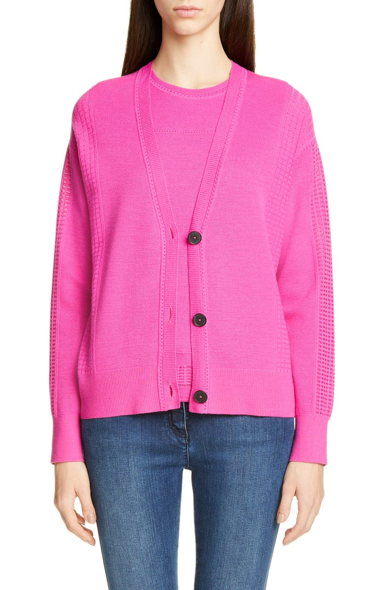 ST. JOHN COLLECTION Placed Pattern Button Cardigan, Main, color, ROSE SNAP