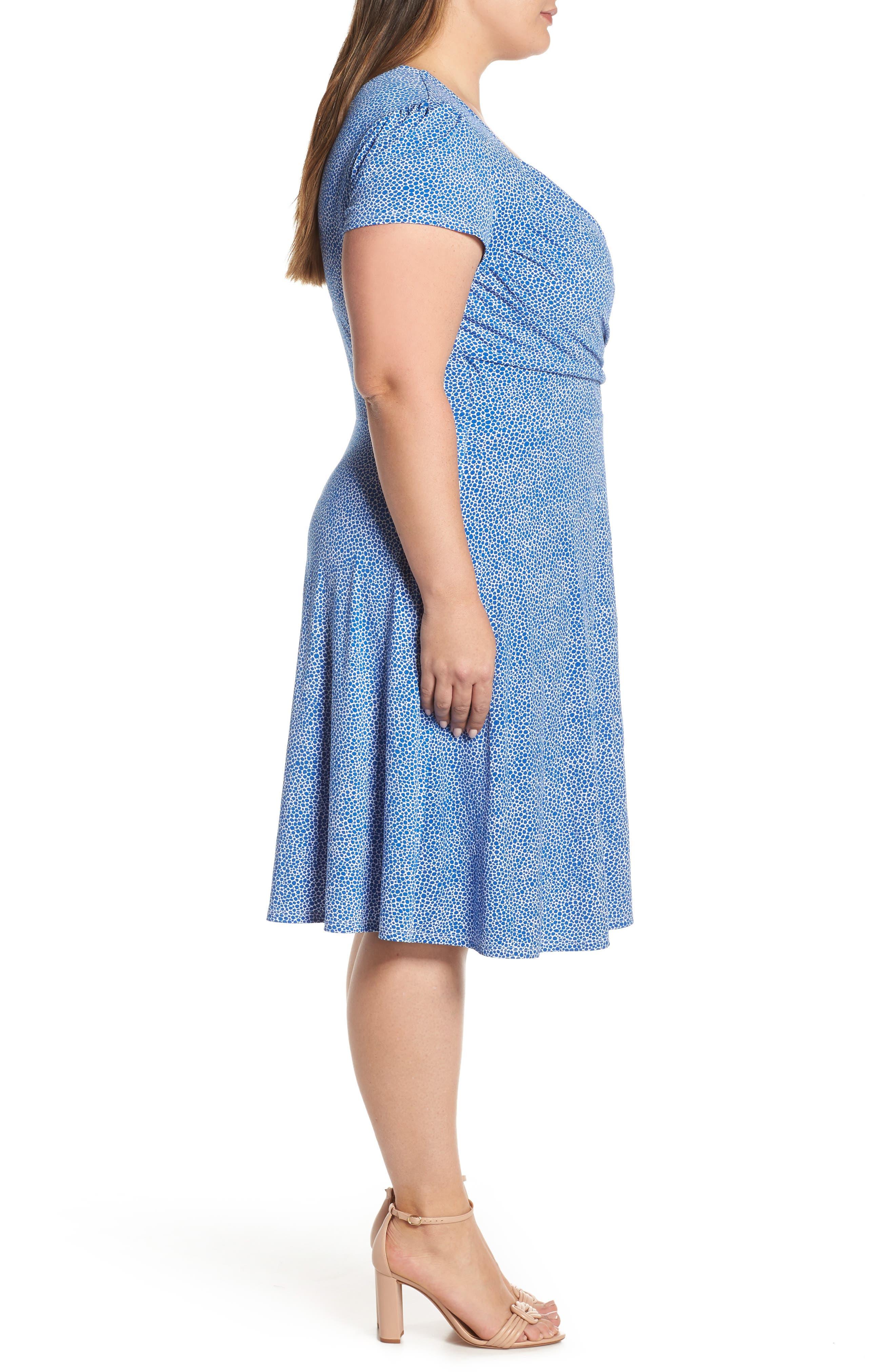 ,                             Faux Wrap Jersey Dress,                             Alternate thumbnail 4, color,                             NEBULAS BLUE