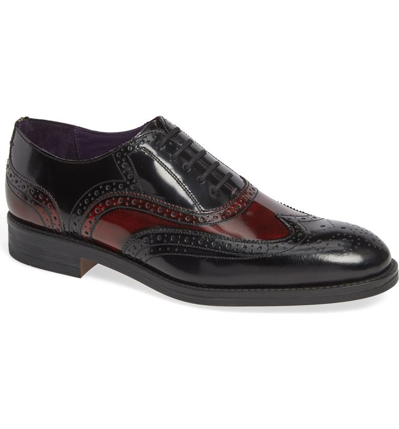 TED BAKER LONDON Adimir Wingtip, Main, color, DARK RED/ BLACK LEATHER