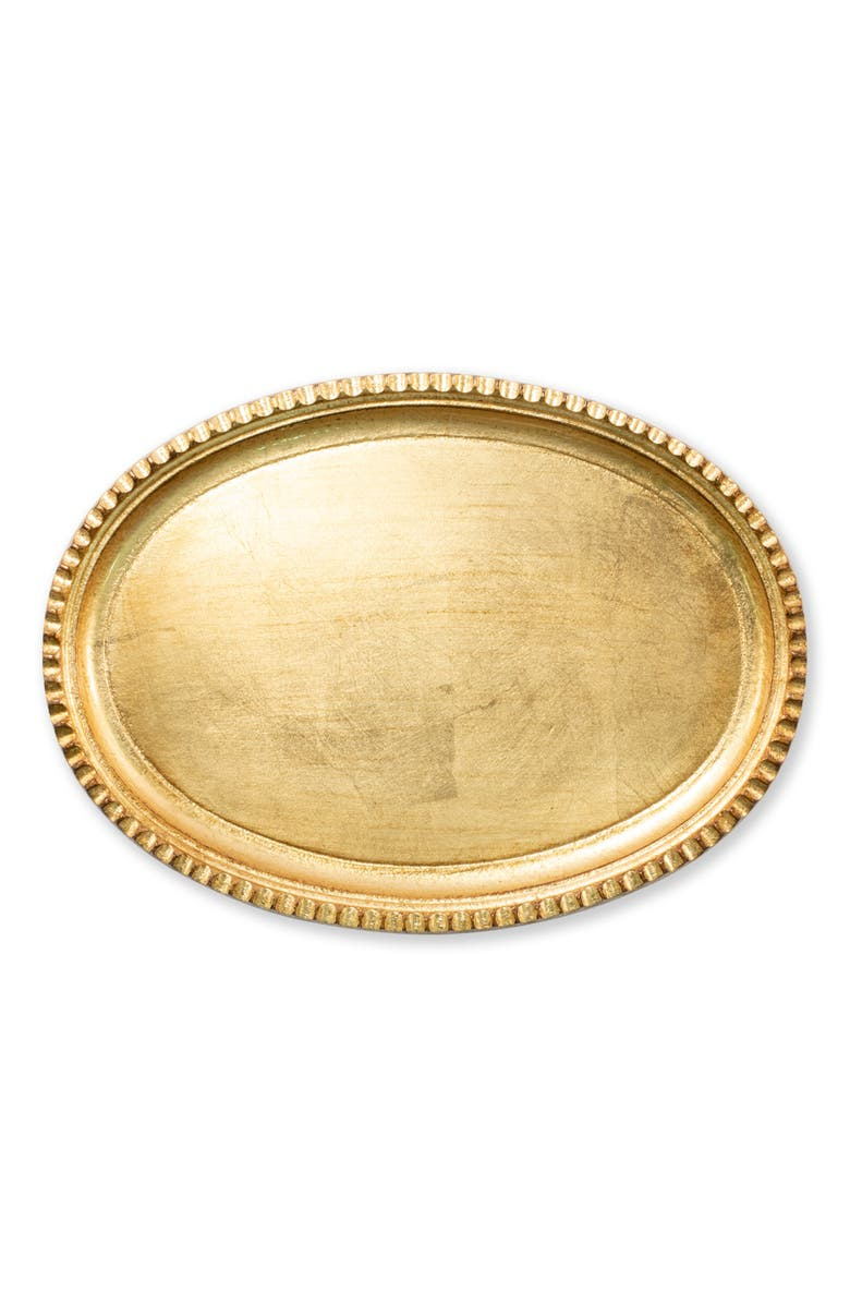 VIETRI Florentine Wood Small Oval Tray, Main, color, GOLD