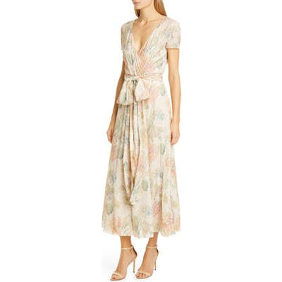 Red Valentino Floral Fil Coupe Faux Wrap Dress, 0 6IT - Ivory