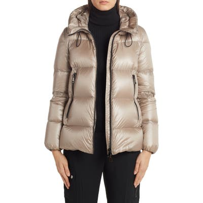 Moncler Serite Hooded Quilted Down Puffer Jacket, (fits like 6-8 US) - Beige