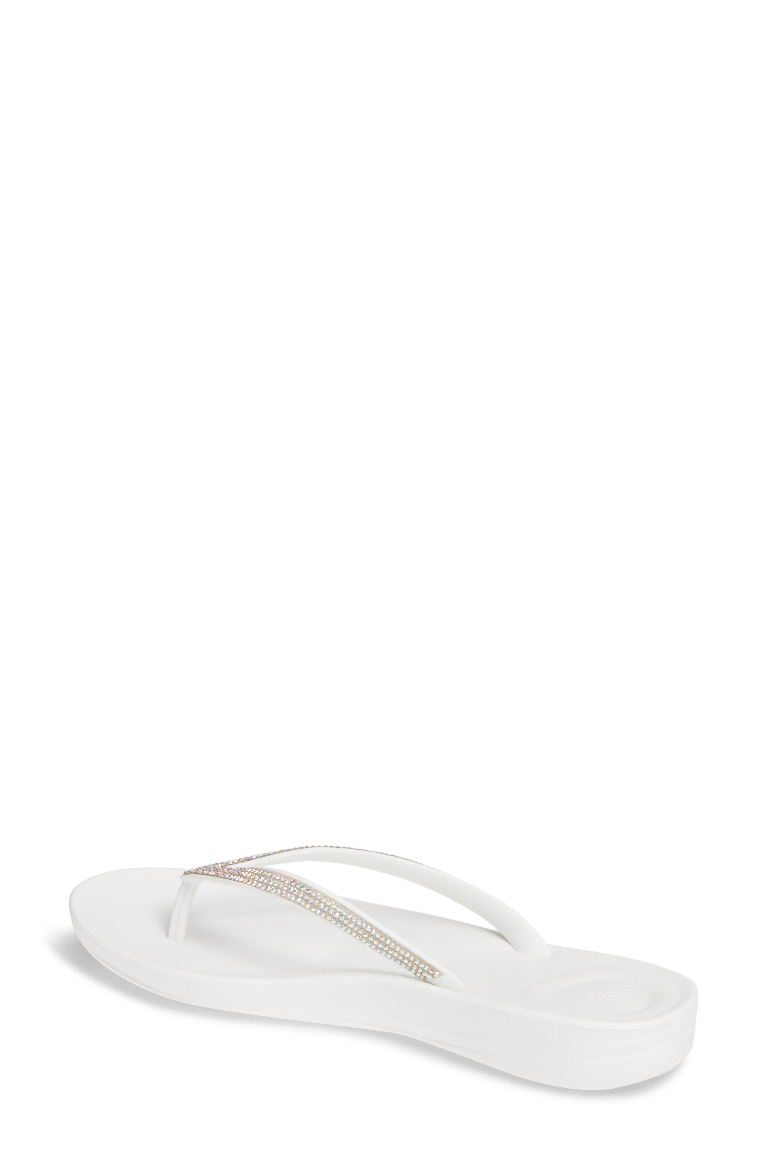 ,                             iQushion<sup>™</sup> Crystal Embellished Flip Flop,                             Alternate thumbnail 2, color,                             URBAN WHITE