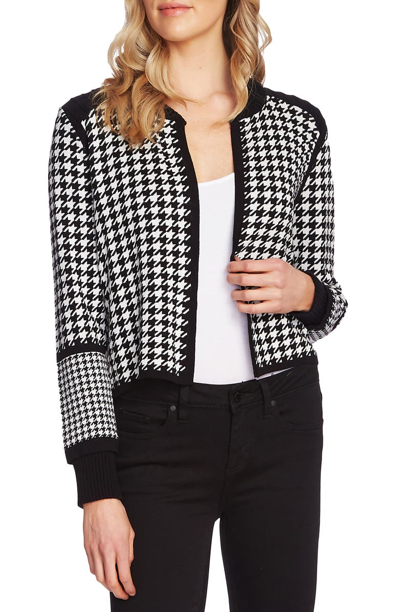 VINCE CAMUTO Houndstooth Cardigan, Main, color, RICH BLACK