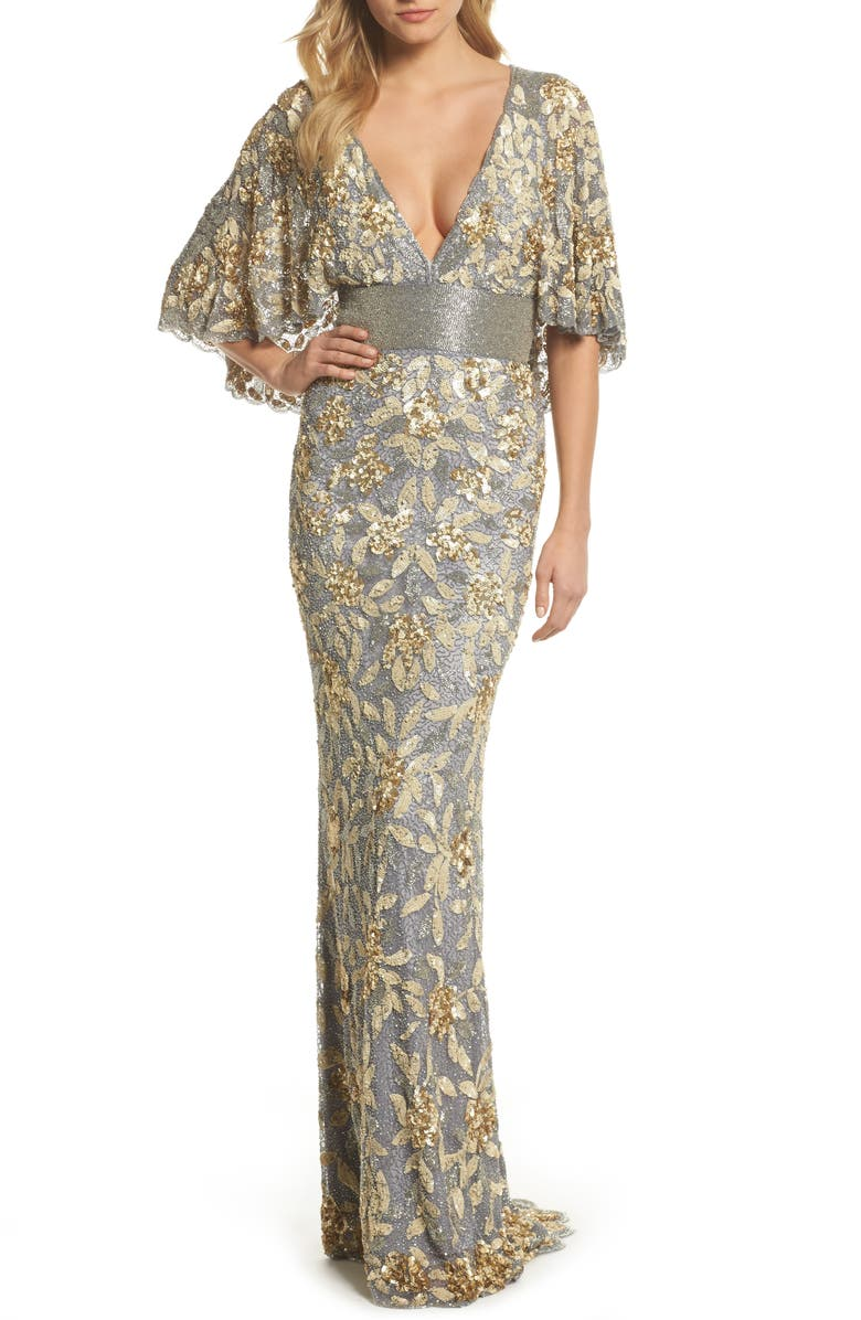 MAC DUGGAL Sequin & Bead Embellished Gown, Main, color, PLATINUM/ GOLD