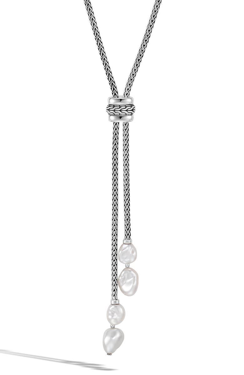 JOHN HARDY Classic Chain Lariat Necklace, Main, color, SILVER/ PEARL