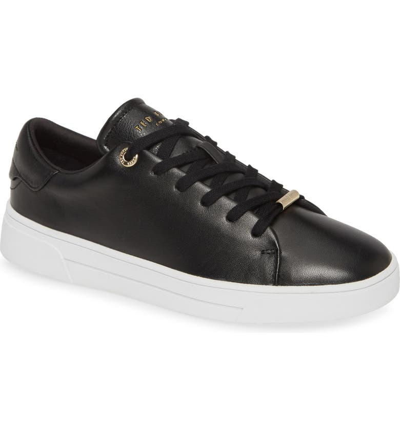 TED BAKER LONDON Indre Low Top Sneaker, Main, color, BLACK LEATHER