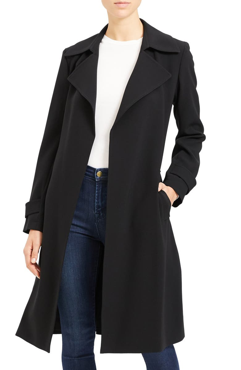 THEORY Oaklane Admiral Crepe Trench Coat, Main, color, BLACK