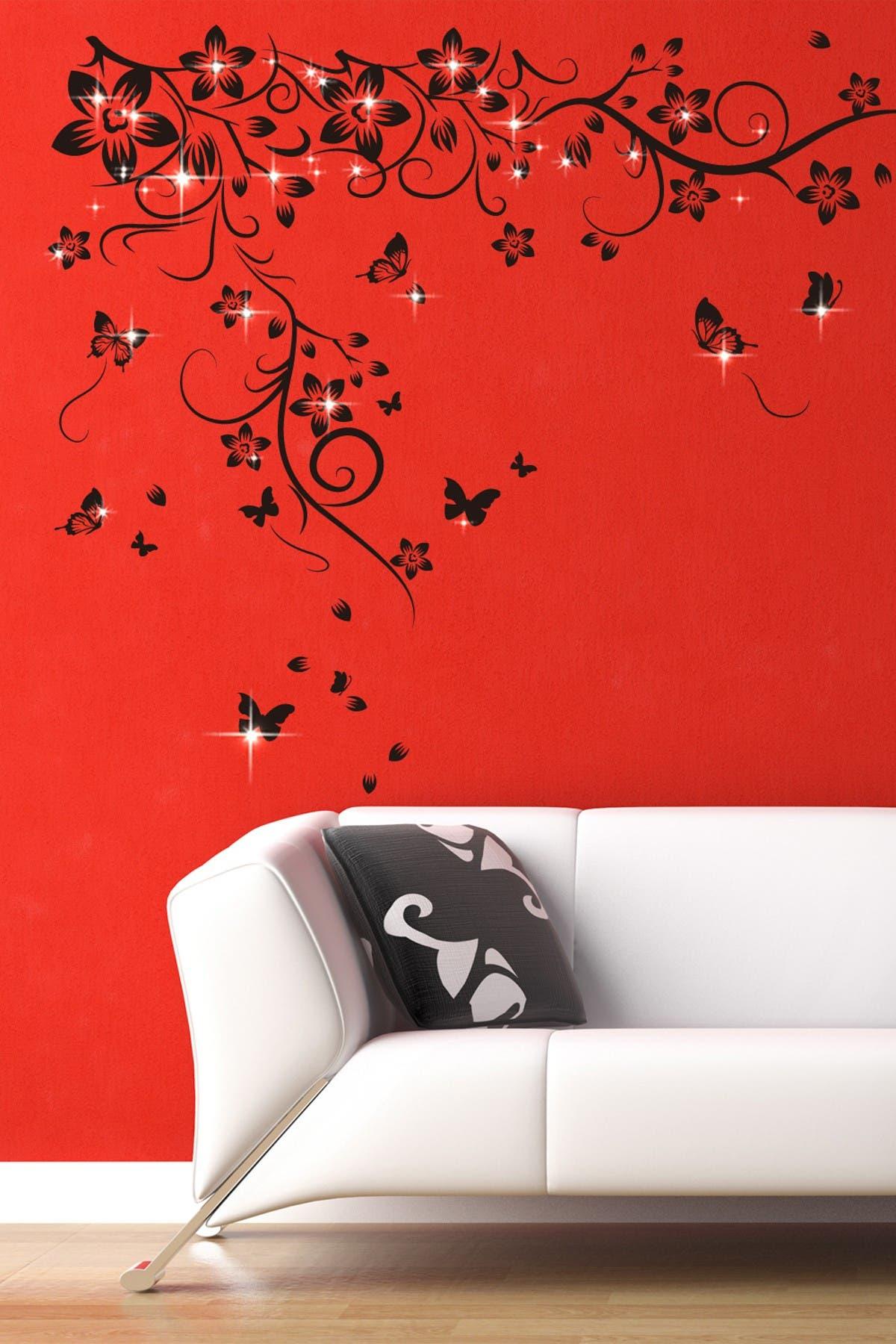 Image of WalPlus Black Swarovski Crystal Embellished Butterfly Vine Wall Sticker