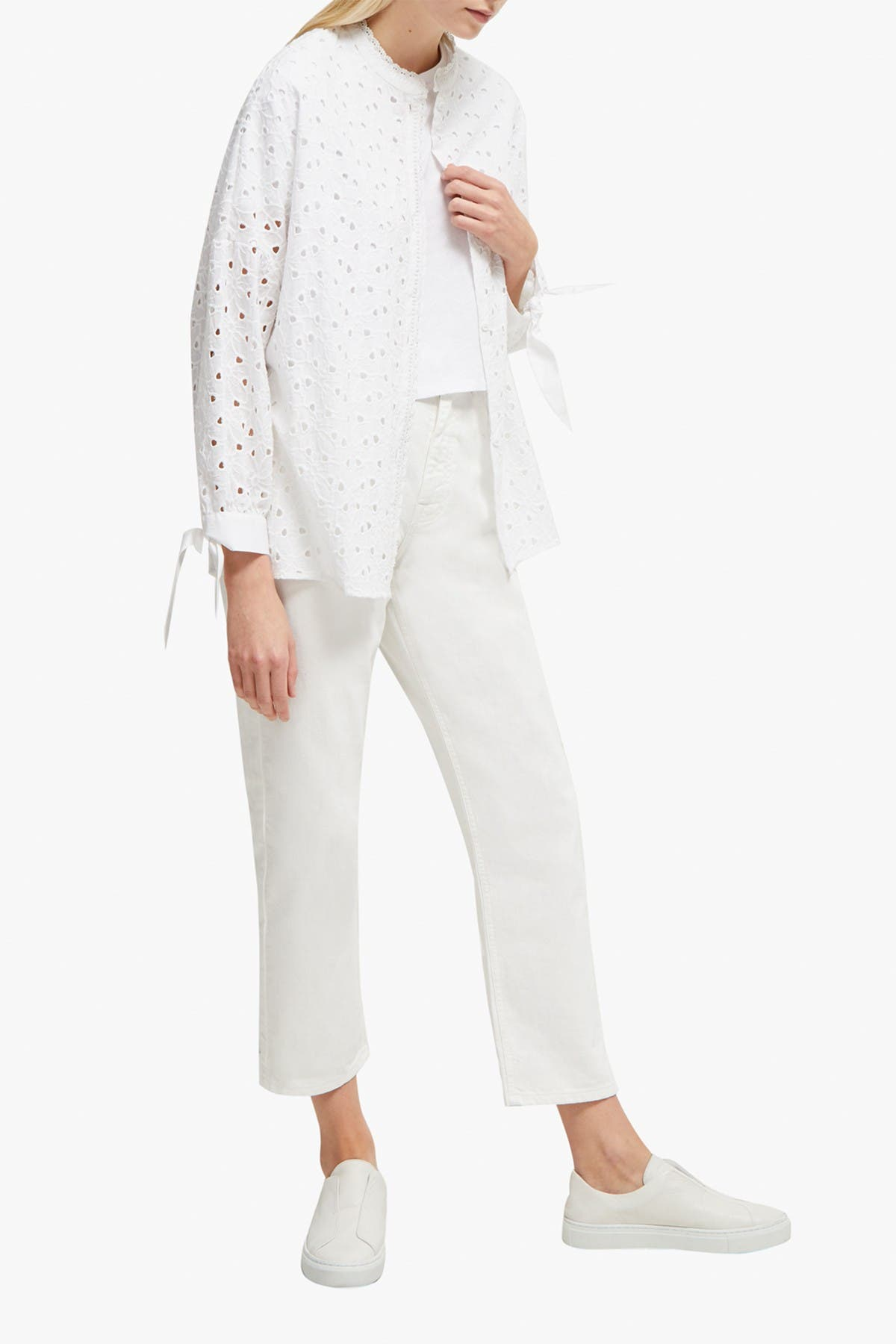 Image of French Connection Bodi Eyelet Tie Cuff Blouse
