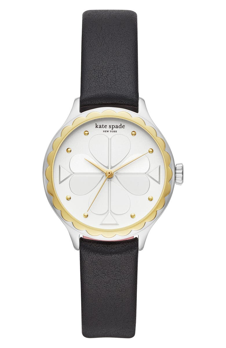 KATE SPADE NEW YORK rosebank scallop leather strap watch, 32mm, Main, color, BLACK/ WHITE/ SILVER