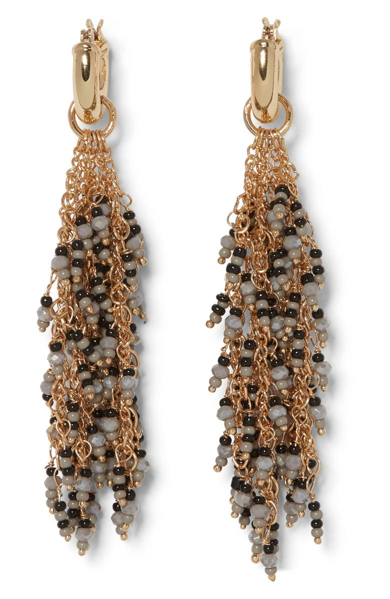 SOLE SOCIETY Beaded Waterfall Earrings, Main, color, 12K SOFT POLISH GOLD/ BLACK
