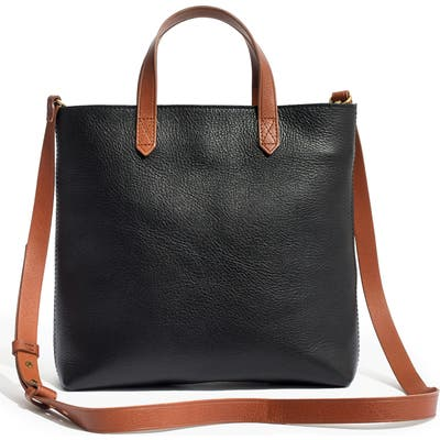 Madewell Small Transport Leather Crossbody Tote - Black