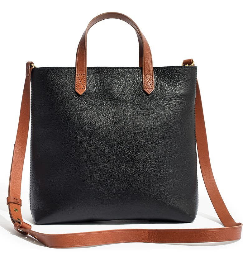 MADEWELL Small Transport Leather Crossbody Tote, Main, color, TRUE BLACK W/ BROWN