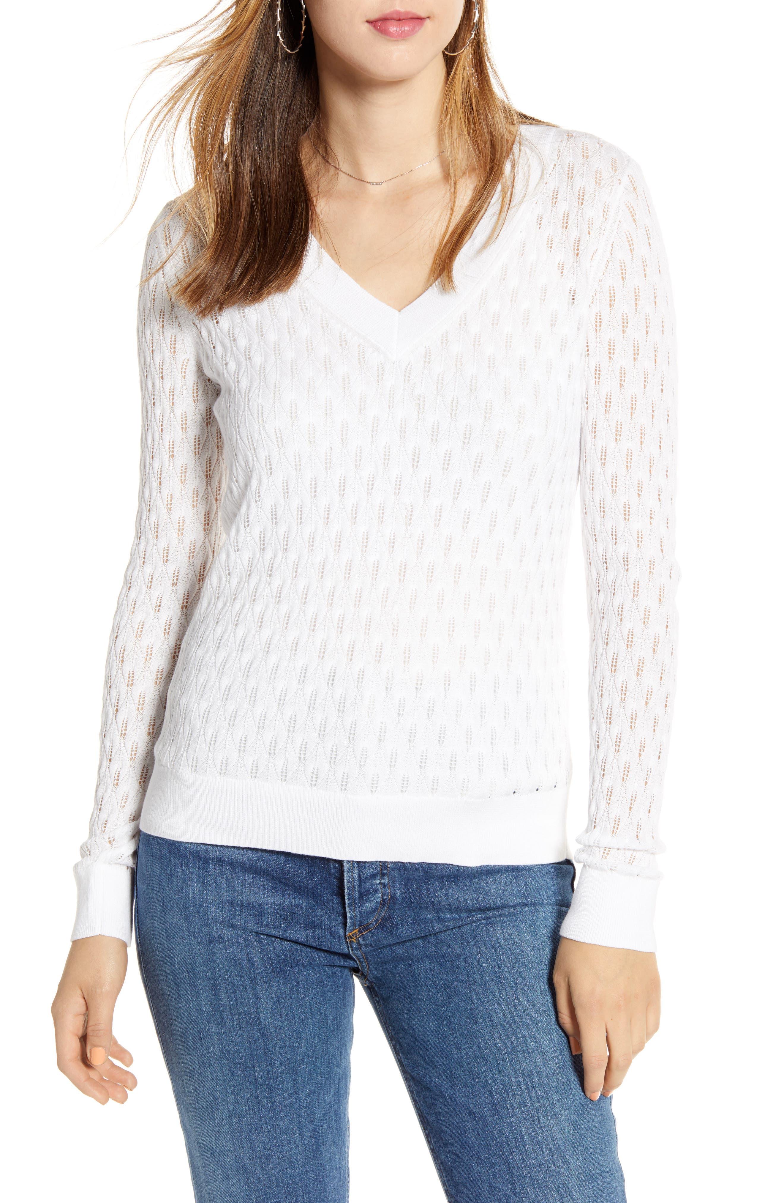 1901 V-Neck Pointelle Sweater, White