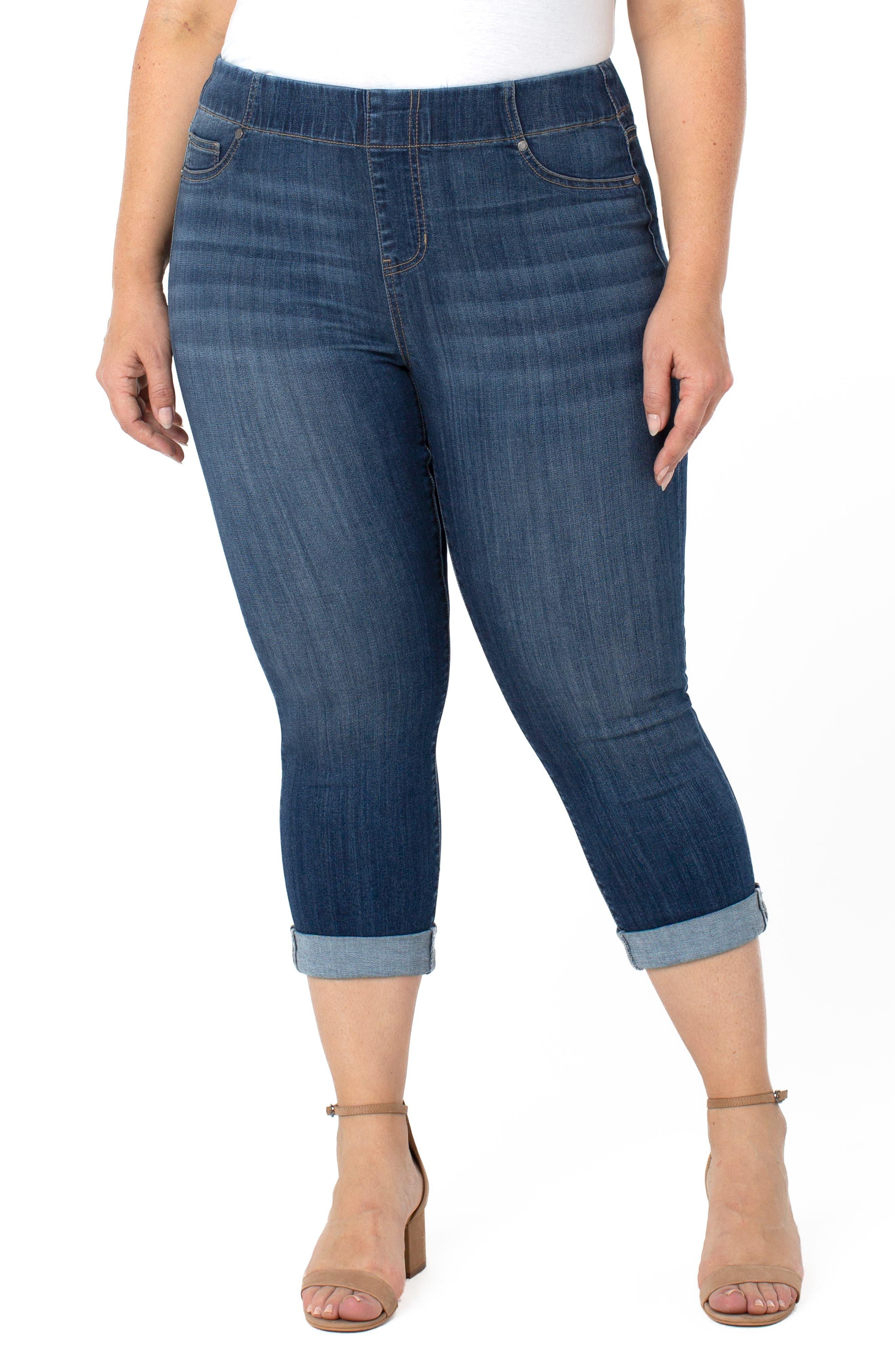 Chloe Pull-On High Waist Roll Cuff Crop Skinny Jeans