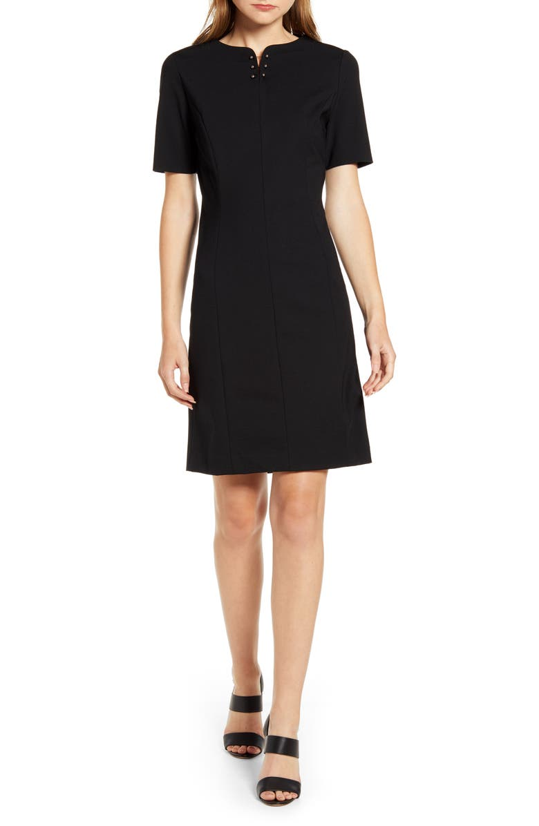 MING WANG Beaded Neck Knit Dress, Main, color, BLACK