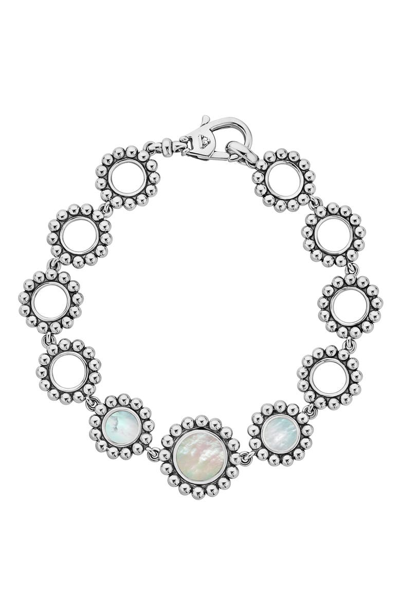 LAGOS Maya Circle Link Bracelet, Main, color, SILVER/ PEARL