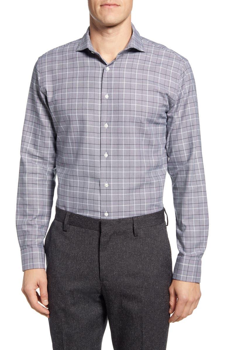 NORDSTROM MEN'S SHOP Tech-Smart Trim Fit Plaid Dress Shirt, Main, color, 001