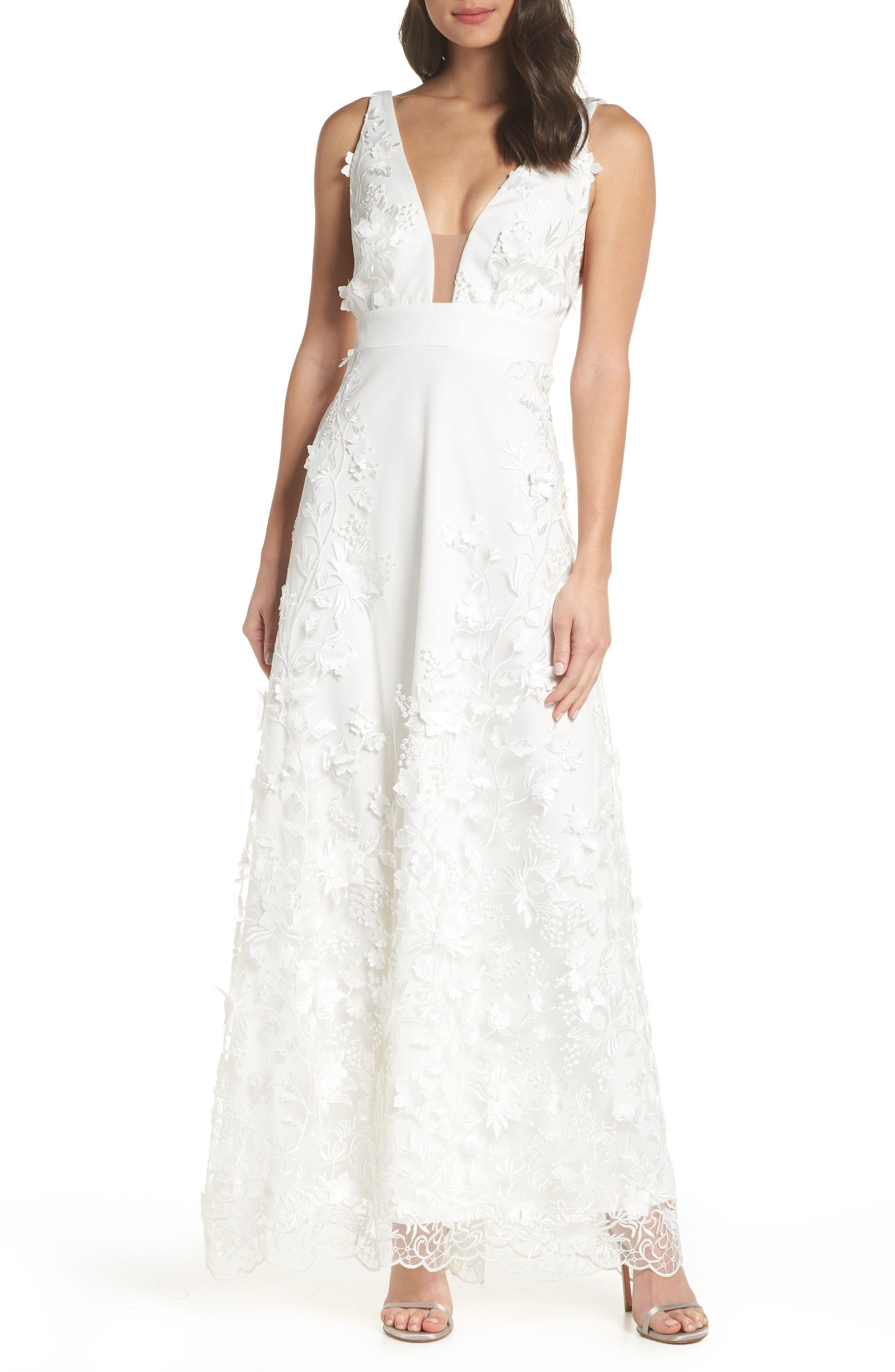 Foxiedox Camilla Embellished Plunge Evening Dress, Ivory