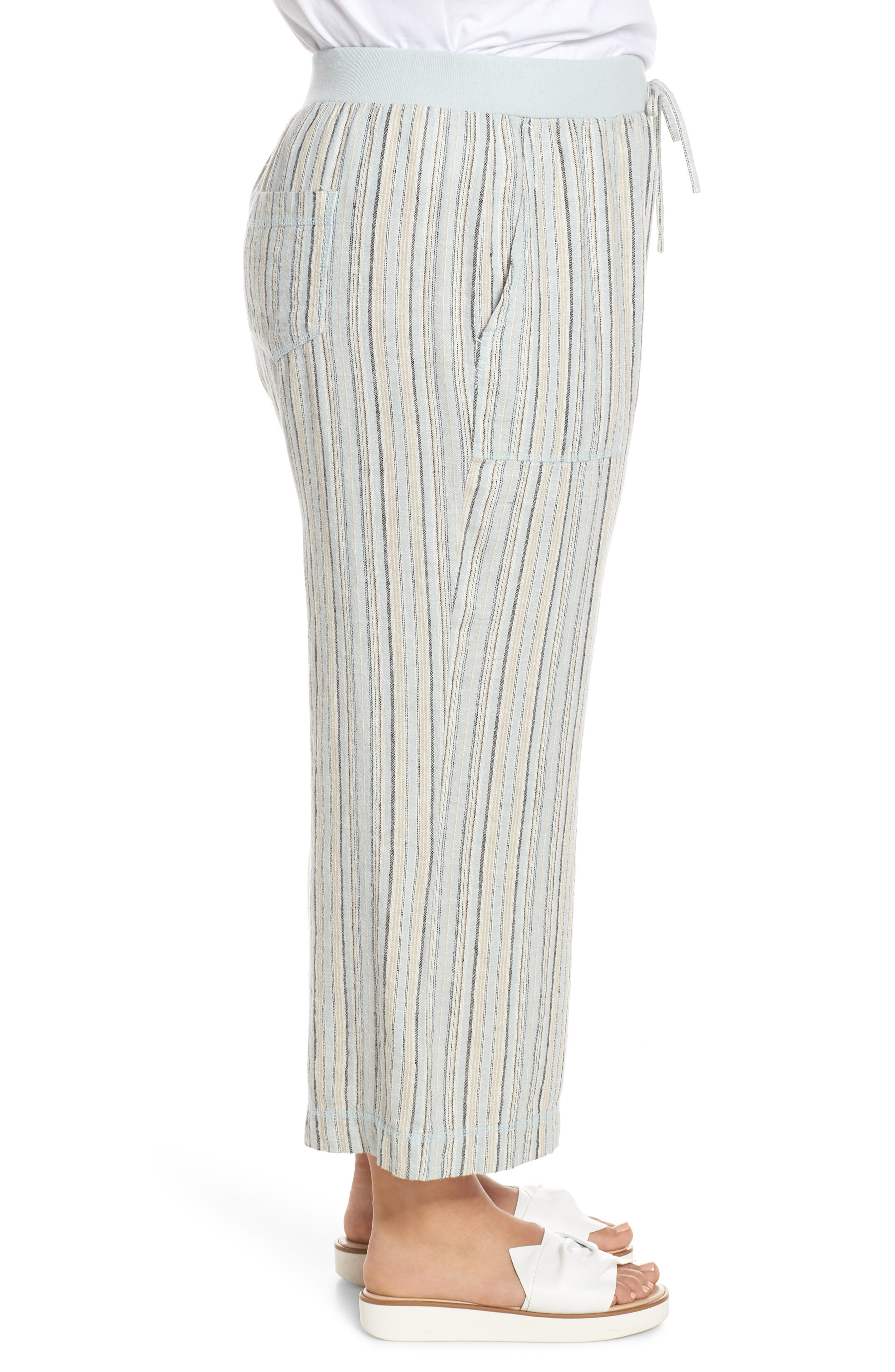 ,                             Stripe Crop Linen Blend Pants,                             Alternate thumbnail 10, color,                             450