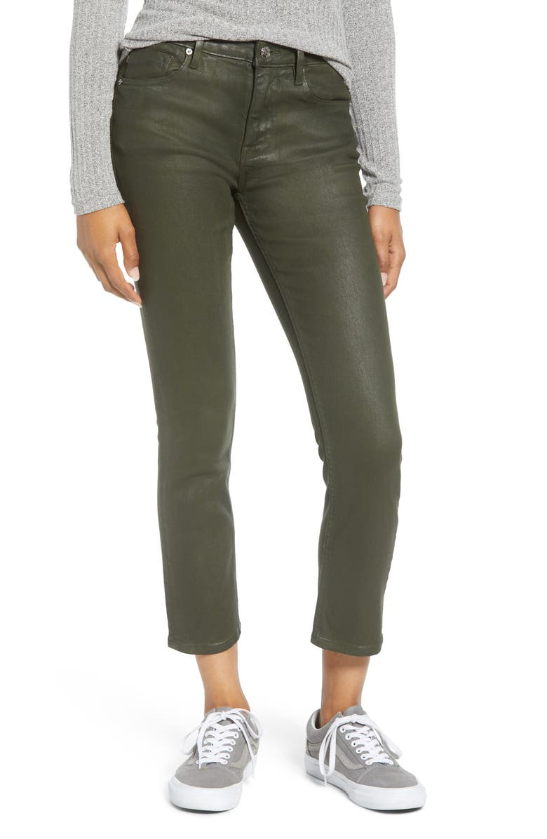 VIGOSS Stevie Coated Crop Straight Leg Jeans, Main, color, COATED OLIVE