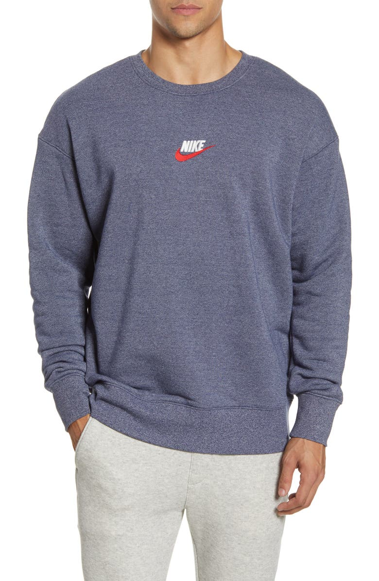 NIKE NSW Heritage Sweatshirt, Main, color, MIDNIGHT NAVY/ HEATHER
