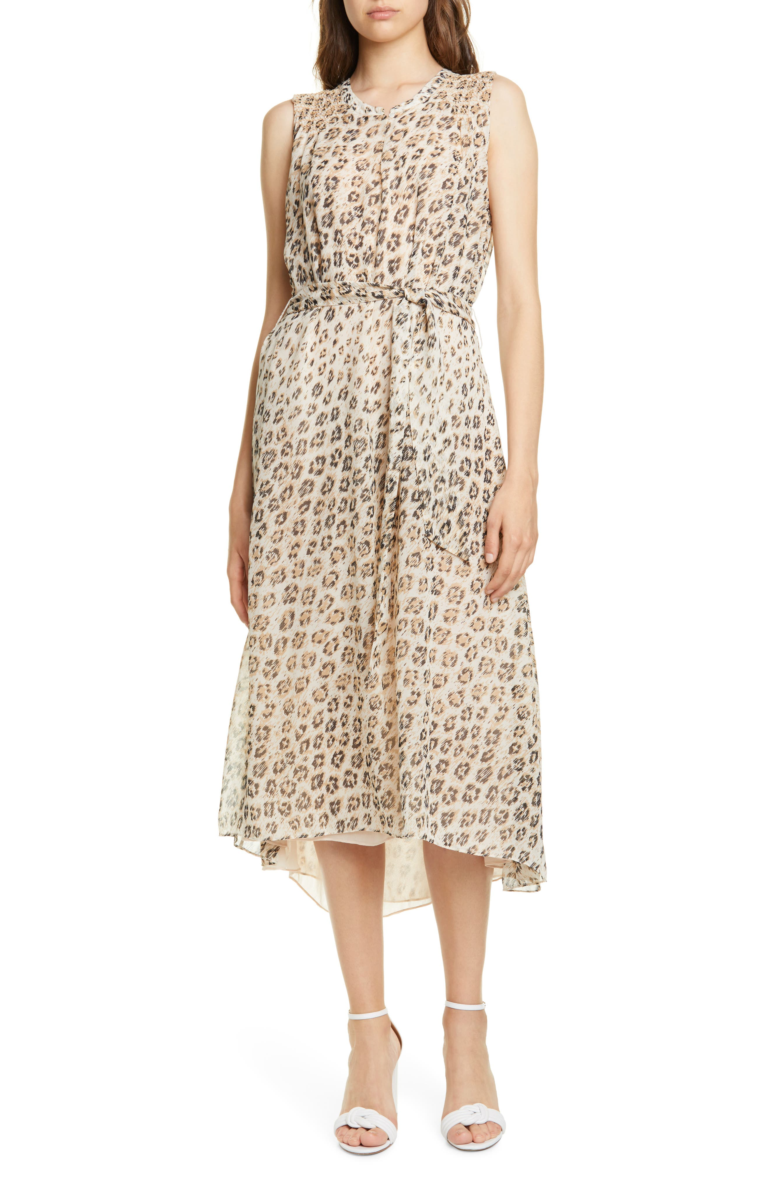 Joie Corrin High/low Silk Dress, Beige
