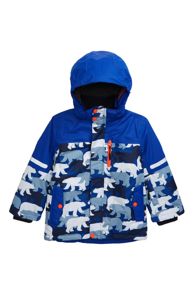 MINI BODEN Polar Bear Waterproof Hooded Jacket, Main, color, COLLEGE BLUE