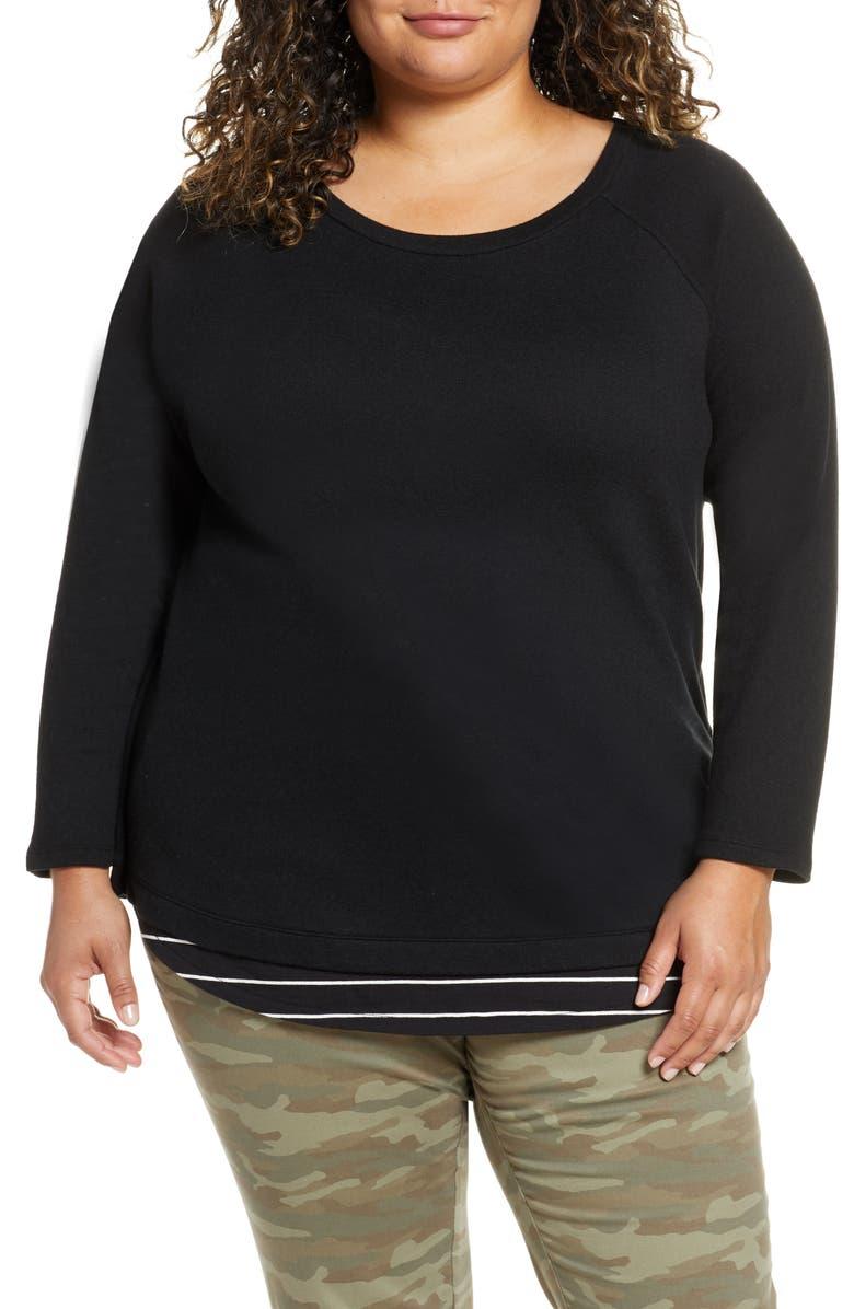 CASLON<SUP>®</SUP> Button Back Sweater, Main, color, BLACK IVORY LAUREN COMBO